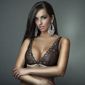 picture of  boobs  - attractive glamour girl with brown big bra - JPG