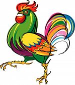 image of fighting-rooster  - Vivid and agressive rooster is ready to fight - JPG