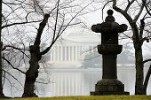 stock photo of thomas jefferson memorial  - Thomas Jefferson Memorial in a misty winter morning - JPG