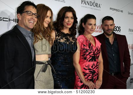 LOS ANGELES - SEP 19: Dan Bucatinsky, Darby Stanchfield, Bellamy Young, Katie Lowes, Guillermo Diaz at the The Hollywood Reporter's Emmy Party at Soho House on September 19, 2013 in West Hollywood, CA