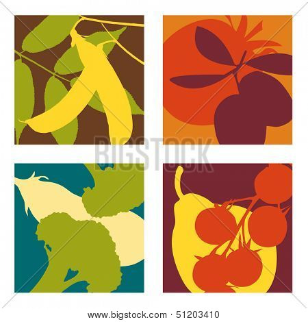 abstract vector fruit and vegetable designs set 3
