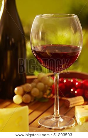 Outdoor still life photo of a glass of red wine and cheese on a wooden tray,