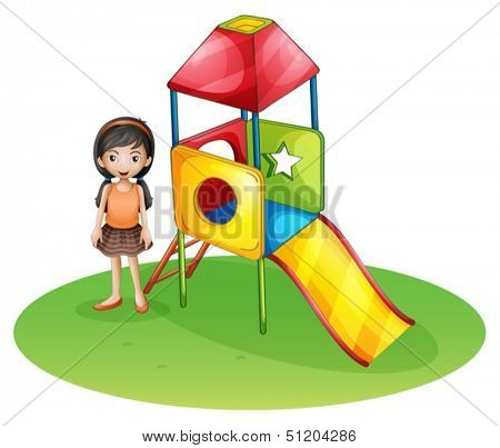Illustration of a cute girl at the playground on a white background