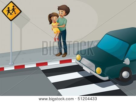 Illustration of a father carrying his daughter at the pedestrian lane