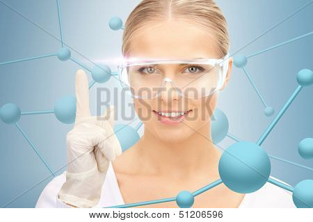 healthcare, hospital, research, science, chemistry and medical concept - woman in protective glasses and gloves