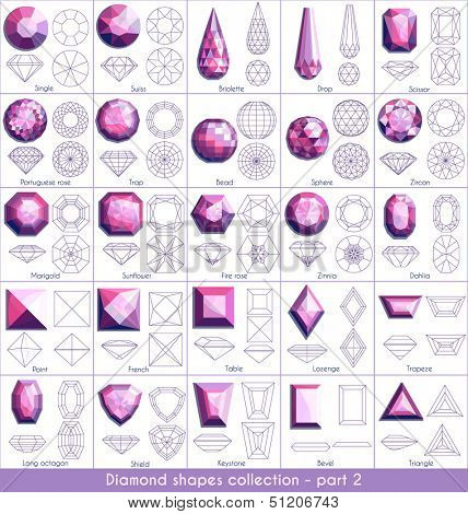 Diamond shapes collection (part 2) - raster version