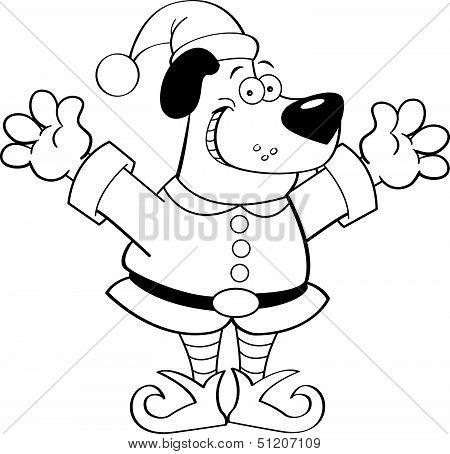 Cartoon dog dressed as an elf