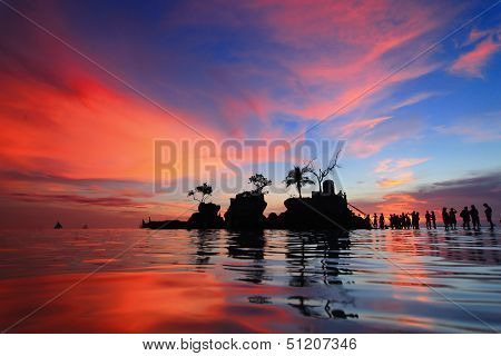 Beautiful Reflection Of Sunset With Sea And Tourist