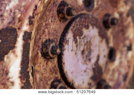 Rusty Hub Of Tractor Wheel - Horizontal Format