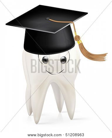White tooth with a cap of the graduate. Rasterized illustration. Vector version in my portfolio