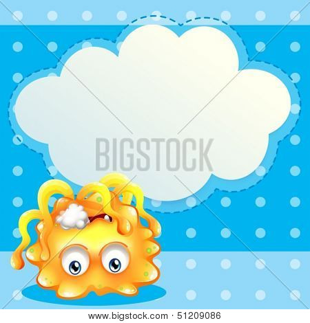 Illustration of a dying lemon monster in front of an empty cloud template