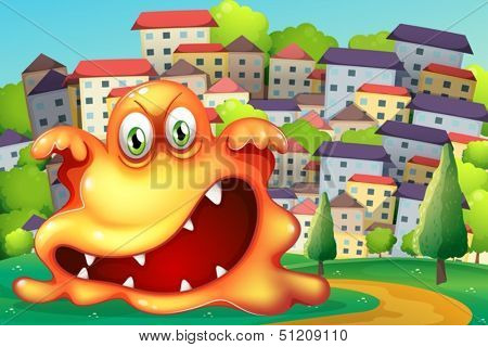 Illustration of an angry monster at the village