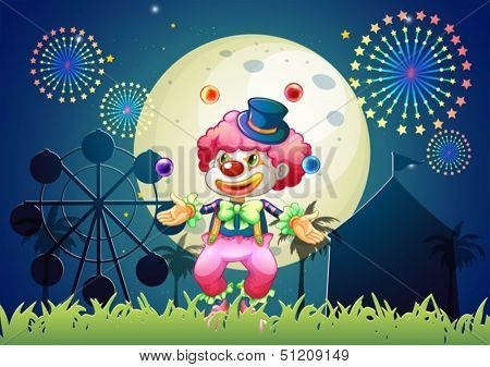 Illustration of a clown juggling in front of the carnival