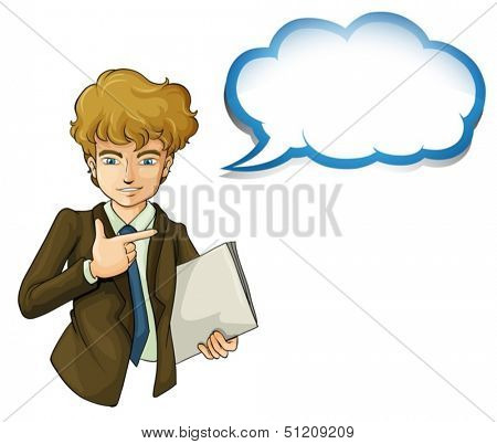 Illustration of a boy holding a binder with an empty callout on a white background