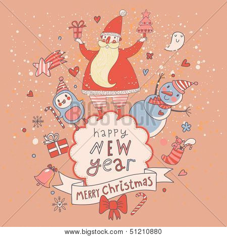 Christmas and New Year card in cartoon style. Stylish vector holiday background with Santa, penguin, snowman and other elements in pink colors