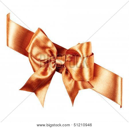 sienna bow made from silk ribbon isolated