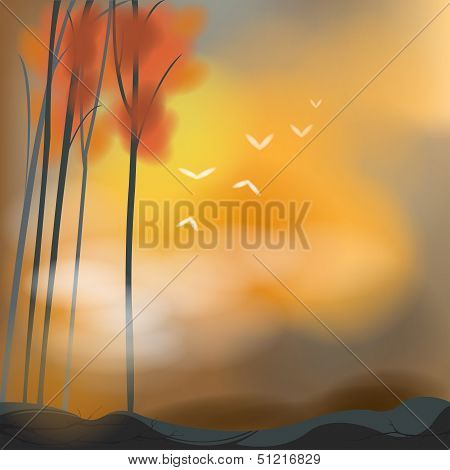 Barren background in sunset scene