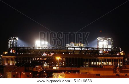 Citi Field, home of major league baseball team the New York Mets at night