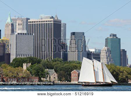 Schooner America 2.0 in New York Harbor