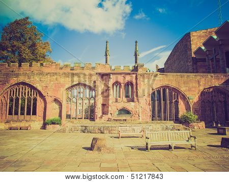 Retro Look Coventry Cathedral Ruins