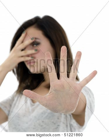 Business Woman Showing Stop Gesture. Focus On Hand