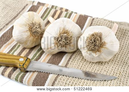 Garlic With Kitchen Knife