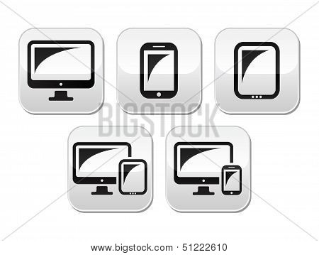 Computer, tablet, smartphone vector buttons set