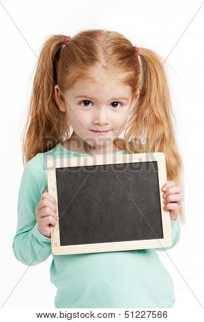 Small Cute Girl With Chalkboard
