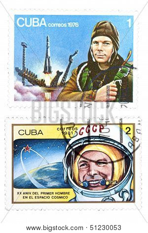 A Set Of Postage Stamp Printed In Cuba Shows The World's First Astronaut Yuri Gagarin.