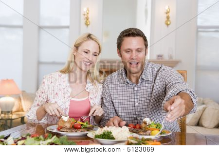 Couple Eating Meal, Mealtime Together