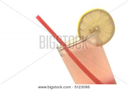 Two-toned Drink In A Tall Glass With Red Straw And Slice Of Lemon