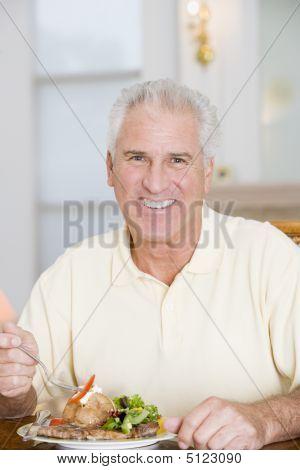 Man Enjoying Healthy Meal, Mealtime