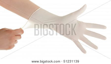 Get Ready For Treatment Doctors Hand In White Hygienic Glove