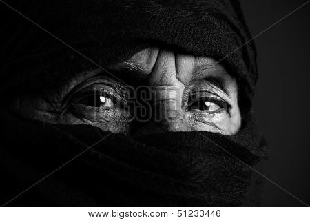 Senior Muslim Woman B&w