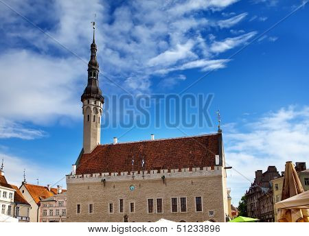Medieval Town Hall and Town Hall Square of Tallinn the capital of Estonia.