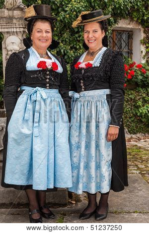 Two charming ladies in traditional dirndls