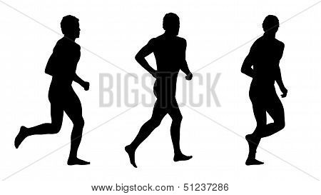 Man Running Silhouettes Set