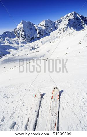Winter mountains, ski - ski slopes in Italian Alps