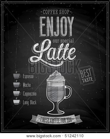 Vintage Latte Poster - Chalkboard. Vector illustration.