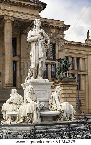 Statue Of Germany Poet Friedrich Schiller, Berlin