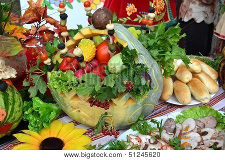 Ukrainian kitchen table eating treats