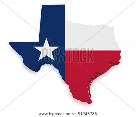 Texas Map Flag 3D Shape