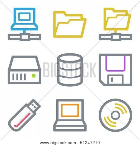 Drive storage web icons, color line contour series