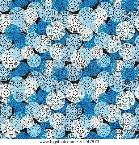 Blue geometric seamless pattern.