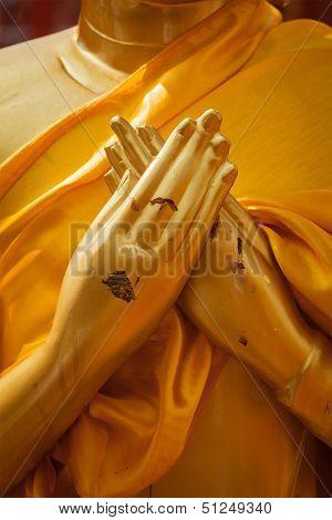 Buddha statue hands in  Vajrapradama Mudra (Mudra of Unshakable Self Confidence). Wat Phra That Doi Suthep, Chiang Mai, Thailand