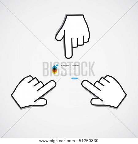 Pointing icon, paper sticker concept vector