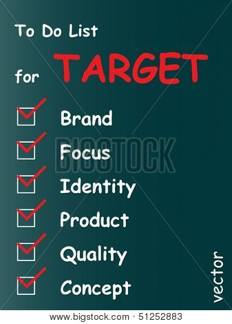Vector eps concept or conceptual white target chalk text blackboard word cloud,tagcloud on green background