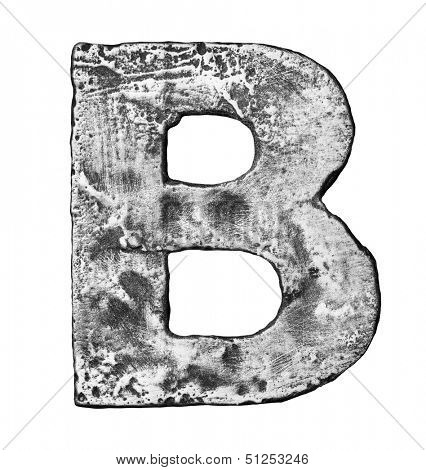 Metal alloy alphabet letter B