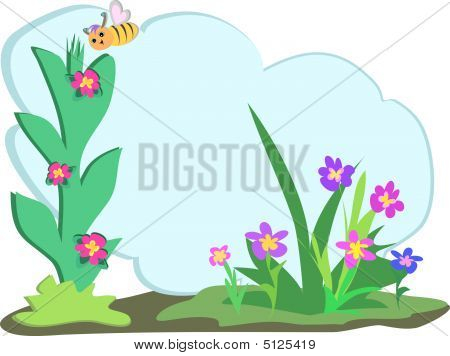 Bee With Floral Text Cloud