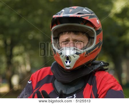 Serious Motocross Rider Geared Up